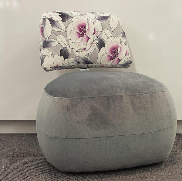 Fauteuil Pouf DRIMMER velour gris et tissu floral
