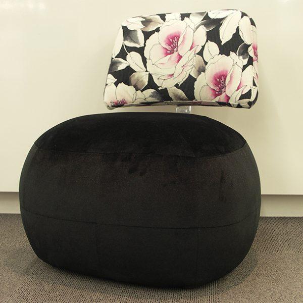 Fauteuil Pouf DRIMMER velour noir et tissu floral