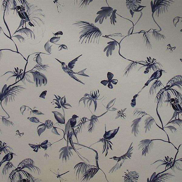 Papier peint oiseaux bleus