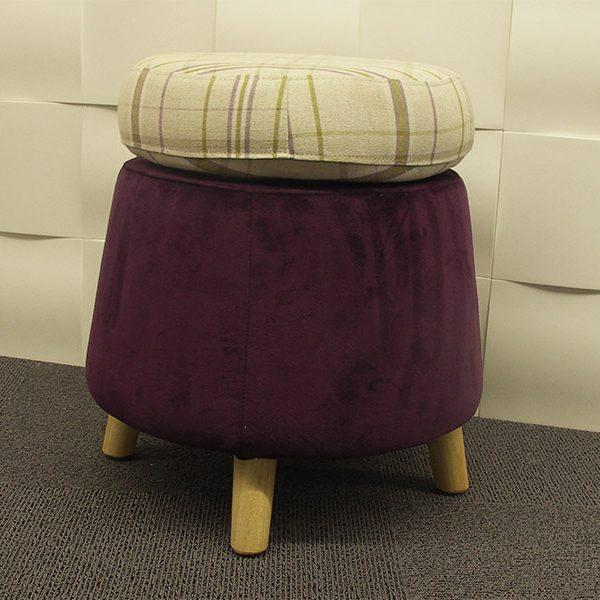 Pouf wheel purple ecossais Athezza